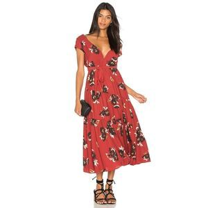 Free People All I Go Red Printed Maxi Dress 4